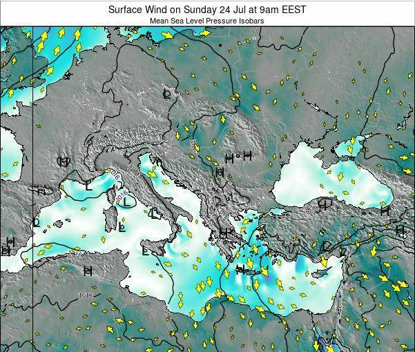 Bulgaria Surface Wind on Saturday 19 Apr at 9am EEST
