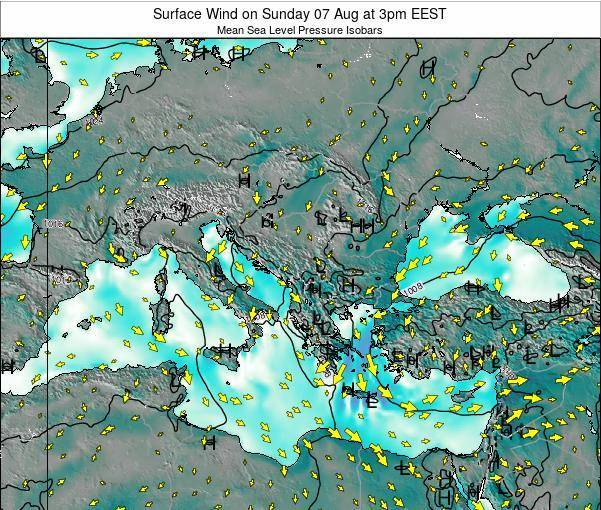 Bulgaria Surface Wind on Friday 30 Jun at 3pm EEST