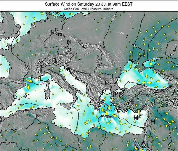 Bulgaria Surface Wind on Saturday 22 Jun at 9am EEST