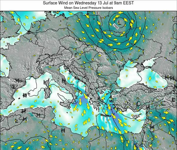 Bulgaria Surface Wind on Thursday 20 Jun at 3am EEST