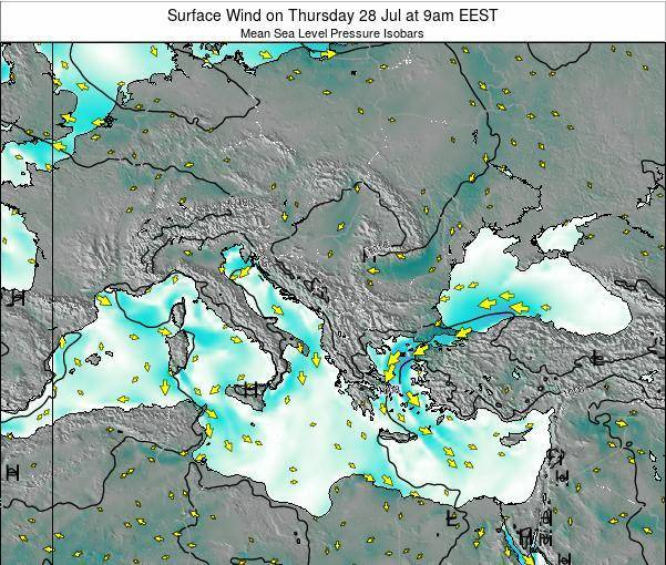 Bulgaria Surface Wind on Friday 06 Dec at 8am EET
