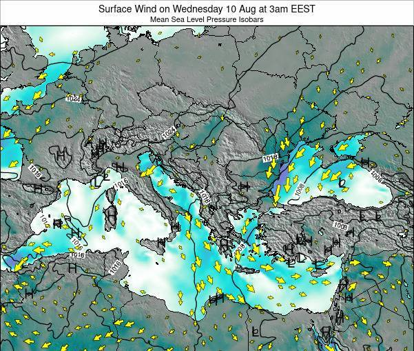 Bulgaria Surface Wind on Thursday 24 May at 3am EEST map