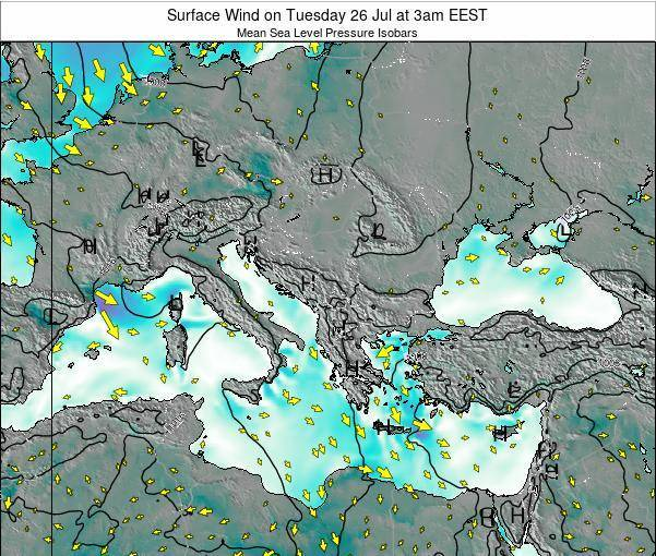 Bulgaria Surface Wind on Monday 28 Jul at 3am EEST