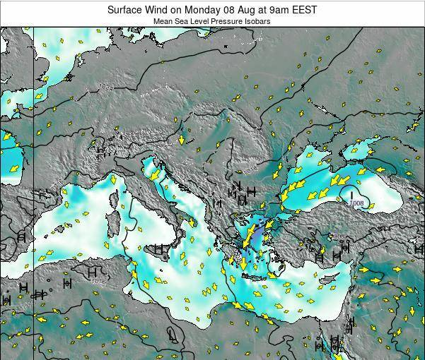 Bulgaria Surface Wind on Thursday 24 Jul at 3pm EEST