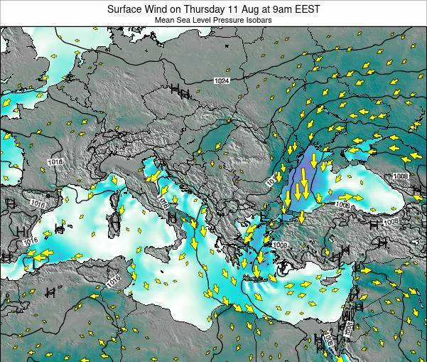 Bulgaria Surface Wind on Tuesday 25 Apr at 3pm EEST