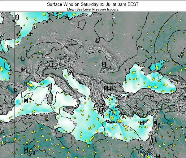 Bulgaria Surface Wind on Tuesday 23 Dec at 8am EET