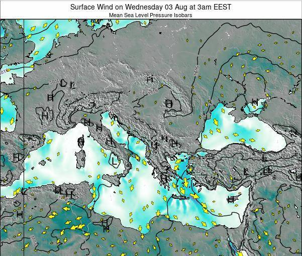 Bulgaria Surface Wind on Tuesday 23 Sep at 9pm EEST