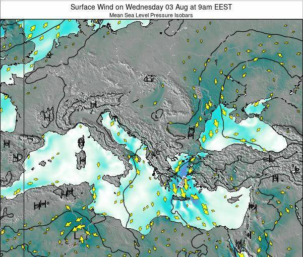 Bulgaria Surface Wind on Saturday 22 Jun at 3am EEST