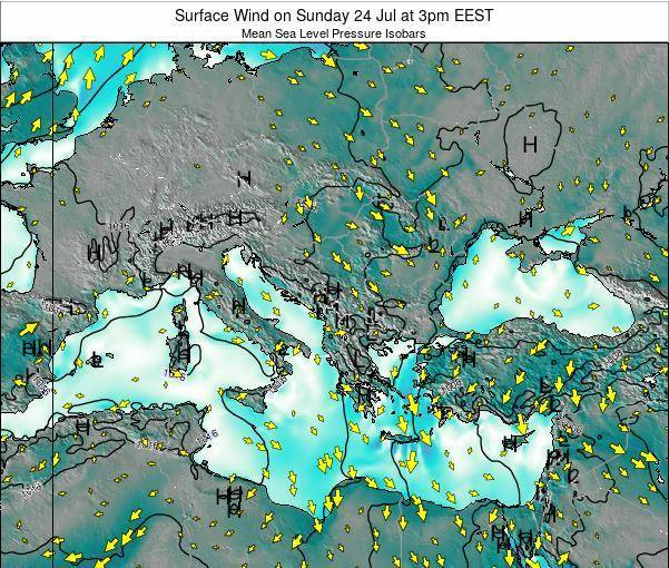 Bulgaria Surface Wind on Wednesday 23 Apr at 3am EEST