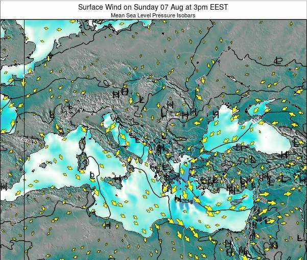 Bulgaria Surface Wind on Thursday 06 Aug at 9pm EEST