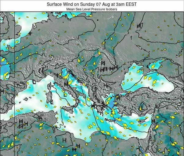 Bulgaria Surface Wind on Monday 04 Aug at 3pm EEST