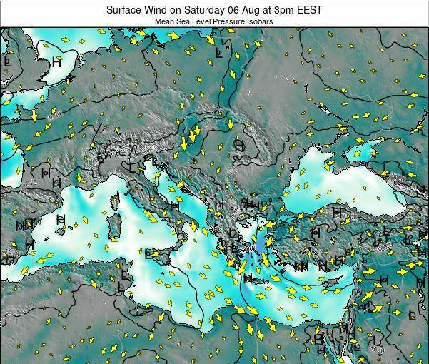 Bulgaria Surface Wind on Tuesday 06 Oct at 3pm EEST