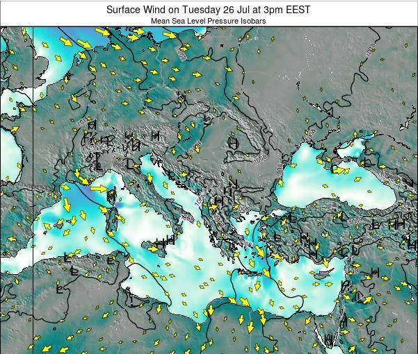 Greece Surface Wind on Saturday 25 May at 3am EEST map