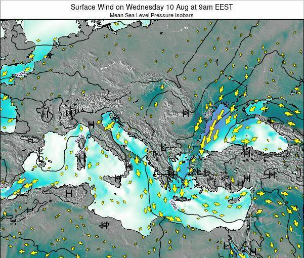Albania Surface Wind on Monday 27 May at 3pm EEST