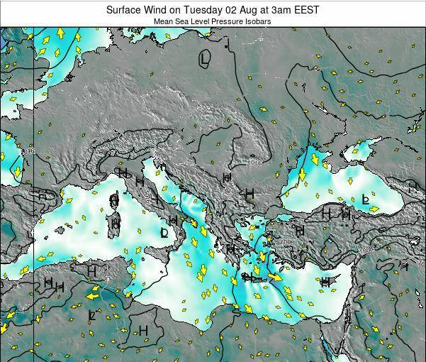 Albania Surface Wind on Friday 24 May at 3pm EEST