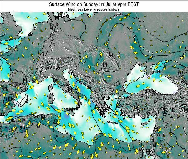 Bulgaria Surface Wind on Thursday 12 Dec at 2am EET