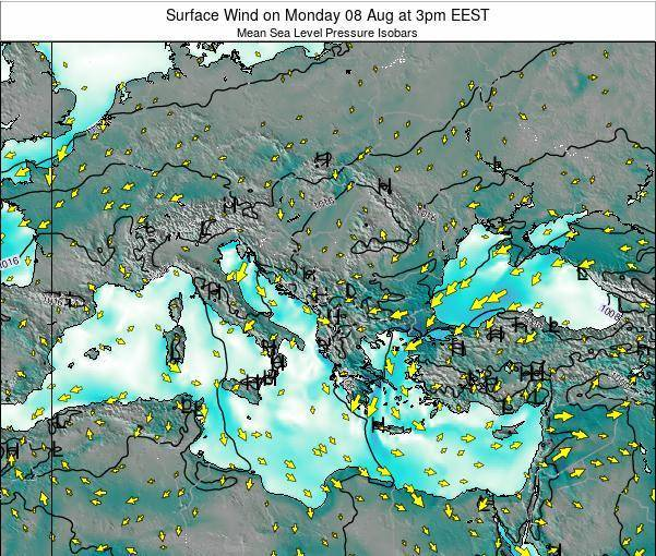 Bulgaria Surface Wind on Sunday 20 Apr at 9pm EEST