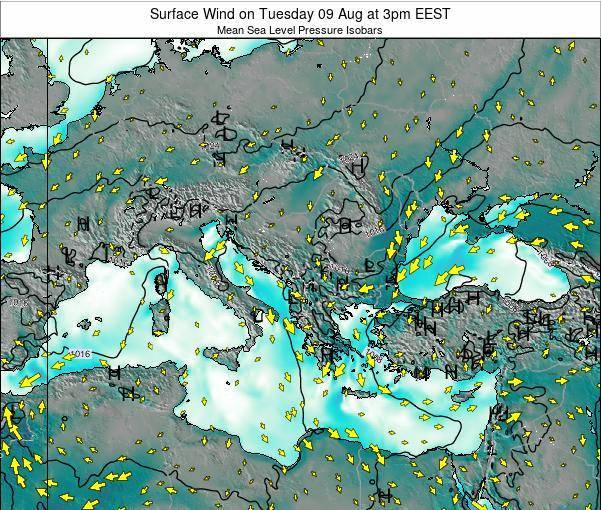 Bulgaria Surface Wind on Saturday 26 Apr at 9pm EEST