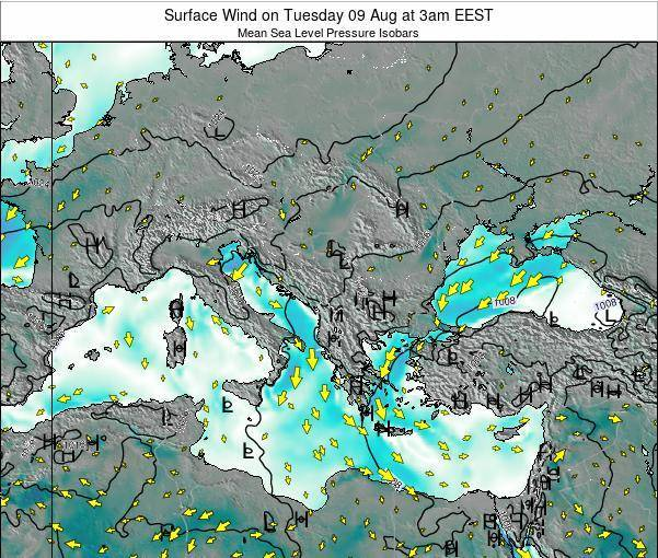 Bulgaria Surface Wind on Saturday 26 Jul at 3pm EEST