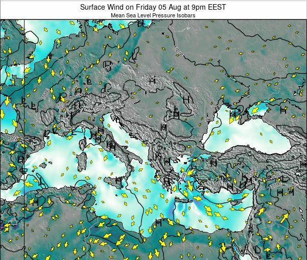 Bulgaria Surface Wind on Thursday 04 Sep at 3pm EEST