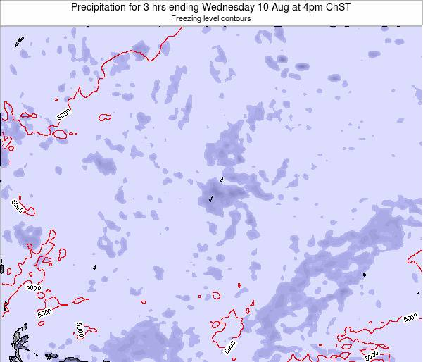 Guam Precipitation for 3 hrs ending Wednesday 22 Aug at 10pm ChST map