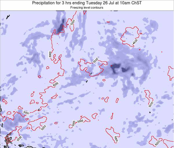 Guam Precipitation for 3 hrs ending Saturday 24 Mar at 10pm ChST map