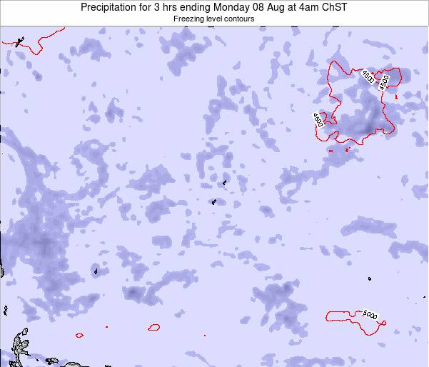 Guam Precipitation for 3 hrs ending Wednesday 05 Aug at 10am ChST