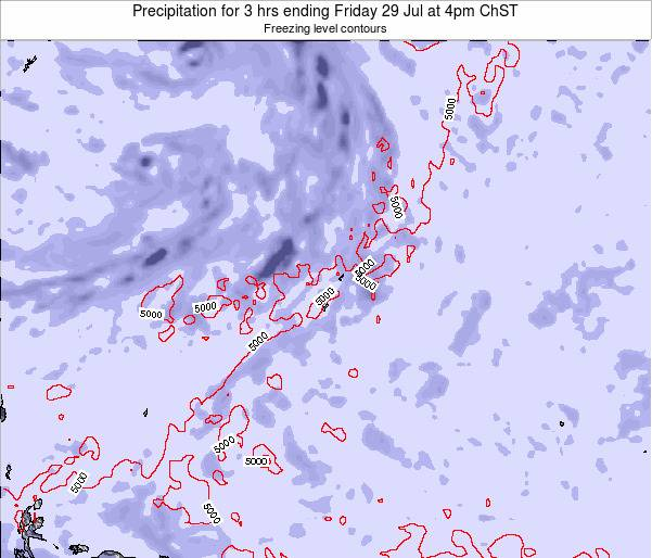 Guam Precipitation for 3 hrs ending Wednesday 08 Jul at 4am ChST