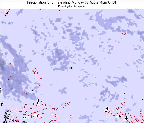 Guam Precipitation for 3 hrs ending Wednesday 03 Aug at 4am ChST