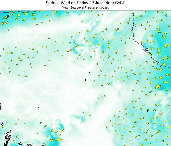 Guam Surface Wind on Monday 24 Jun at 10am ChST map