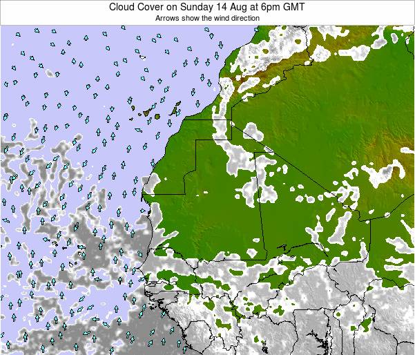 Senegal Cloud Cover on Saturday 03 Sep at 12am GMT