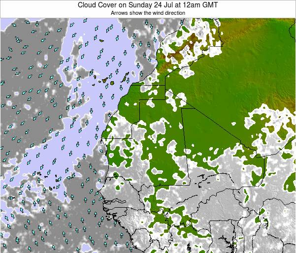 Senegal Cloud Cover on Monday 28 Apr at 12pm GMT
