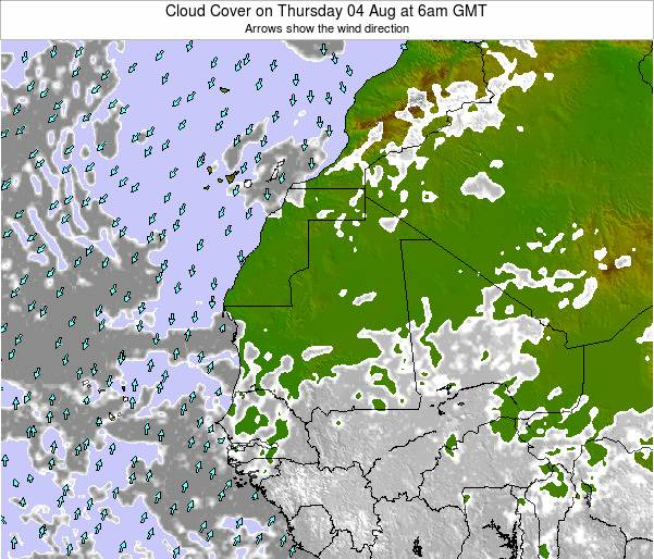 Senegal Cloud Cover on Tuesday 05 Aug at 12pm GMT