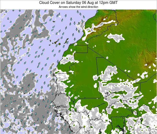 Senegal Cloud Cover on Friday 24 May at 12pm GMT