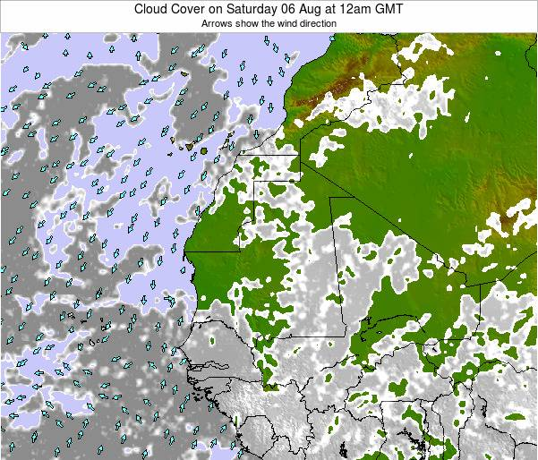Guinea Cloud Cover on Friday 24 May at 12am GMT
