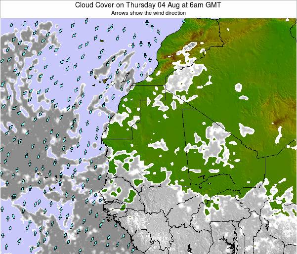 Senegal Cloud Cover on Sunday 27 Jul at 12pm GMT