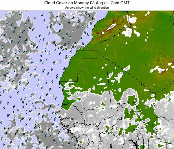 Sierra Leone Cloud Cover on Monday 27 May at 12pm GMT
