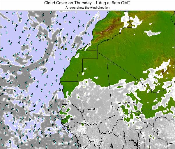 Cape Verde Cloud Cover on Monday 28 Jul at 12pm GMT