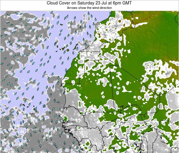 Liberia Cloud Cover on Monday 25 Aug at 12pm GMT