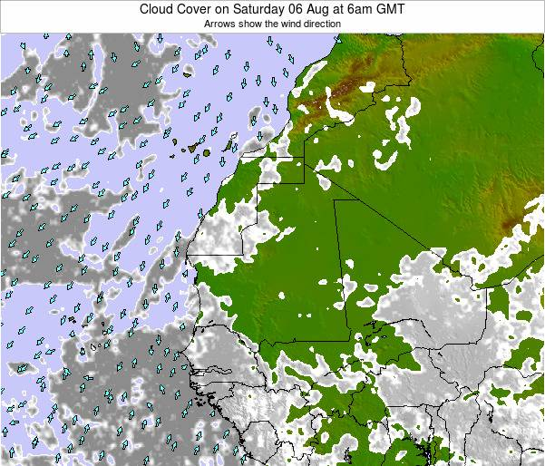 Senegal Cloud Cover on Sunday 28 Jan at 6pm GMT map