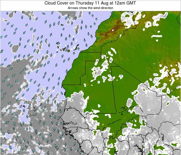 Cape Verde Cloud Cover on Friday 31 May at 6pm GMT