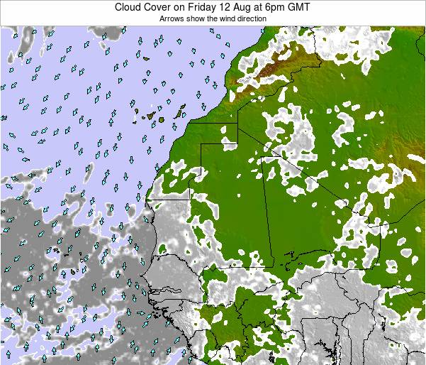 Senegal Cloud Cover on Monday 04 Aug at 6am GMT