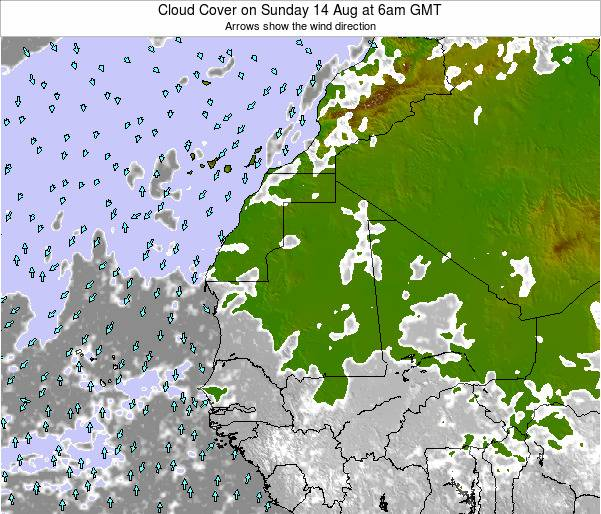 Senegal Cloud Cover on Monday 17 Mar at 6am GMT