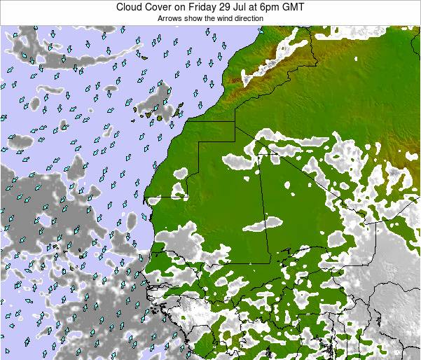 Senegal Cloud Cover on Friday 14 Mar at 12am GMT