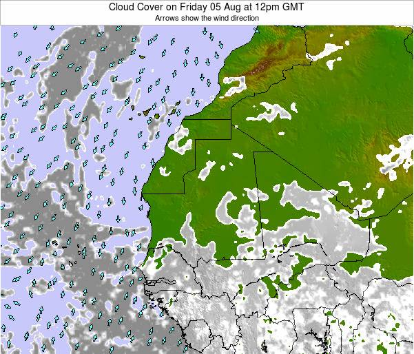 Senegal Cloud Cover on Tuesday 29 Apr at 12pm GMT