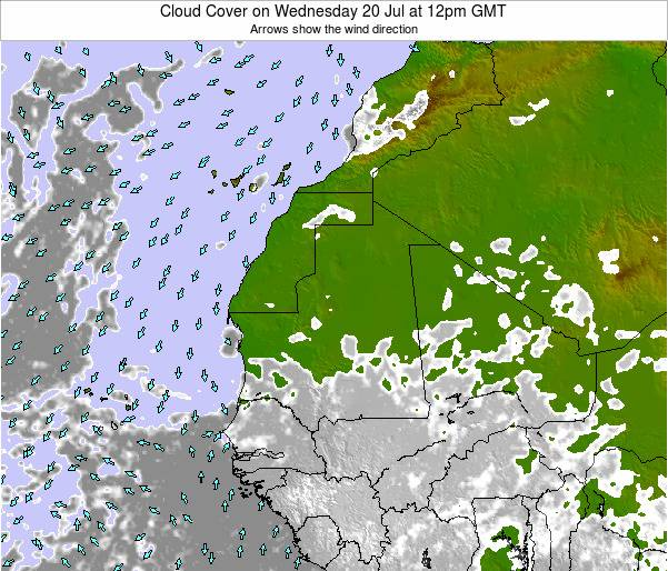 Guinea Cloud Cover on Monday 20 May at 12pm GMT