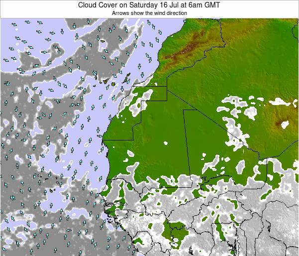 Senegal Cloud Cover on Wednesday 01 Apr at 6pm GMT