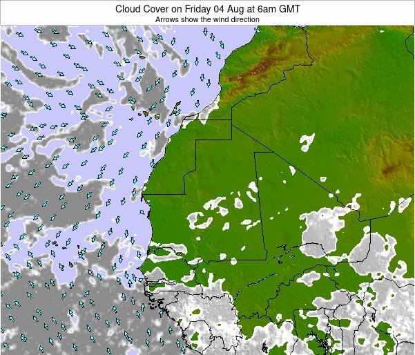 Senegal Cloud Cover on Thursday 25 Jan at 6pm GMT map