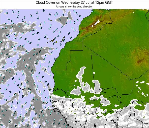 Senegal Cloud Cover on Thursday 25 Jan at 12am GMT map