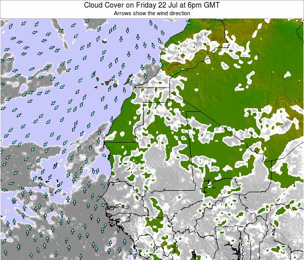 Cape Verde Cloud Cover on Friday 24 May at 6pm GMT